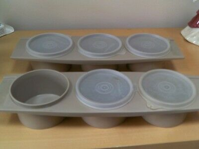 Vintage Tupperware Trio Of Pots 1 full set and 1 set 1 without lid