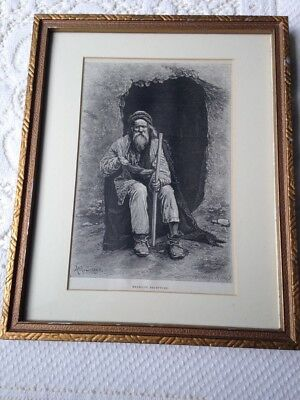 ANTIQUE PRINT With Wooden Frame Glass '' MENDIANT  BALOUTCHE '' Ach.Sirouy