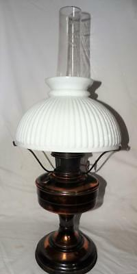 VINTAGE ALADDIN No12 COPPER OIL LAMP WITH CHIMNEY,SHADE & GALLERY,GOOD CONDITION