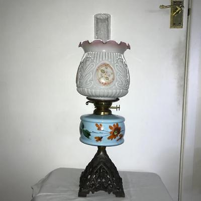 Art Nouveau Design Victorian Oil Lamp With Shade &,chimney,working Order.