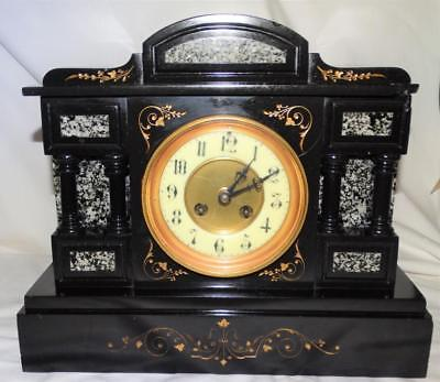 ANTIQUE FRENCH MARBLE STRIKING MANTEL CLOCK,CORINTHIAN COLUMN DESIGN c1880.