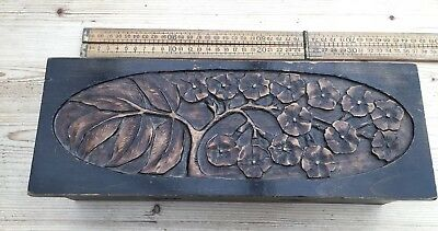 An Antique Wooden Box, Antique Wooden Glove Box, Nice Carved Floral Design