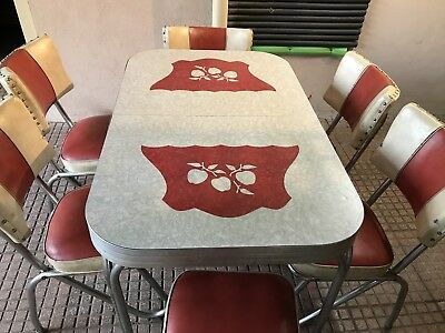 Red and White 6 chair retro Kitchen Table 1950S