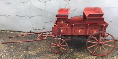 Vintage Antique Wooden Wagon Carriage Horse Pony Yard Decor Removeable Seats