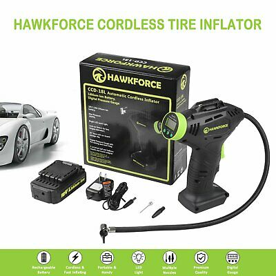 HAWKFORCE Rechargeable Cordless Air Compressor Tire Tyre Inflator Pump 18V