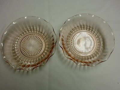 "Vintage Depression Glass Clear Pink Two 6 1/2"" Bowls & One 5 1/2"" Bowl."