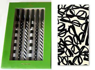 kate spade SET: Top of the Line Pen Set 6pc + Literary Glasses large NotePad New
