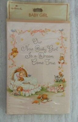 Vintage HALLMARK  Baby GIRL BIRTH Announcement Note Cards 10 CARDS Envelopes
