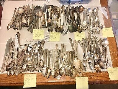Vintage Silverplate Flatware Craft Lot 305 Pieces 7 Different Pattern Sets!!!
