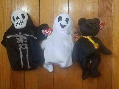 LOT of 3 TY BEANIE BABIES Haunt, Sheets, Creepers HALLOWEEN PLUSH w/ TAGS