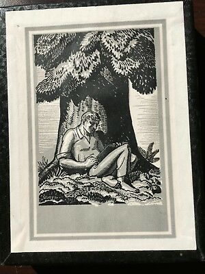 Vintage ANTIOCH BOOK PLATES in Orig. Box Man Reading Under Tree - 37 + others