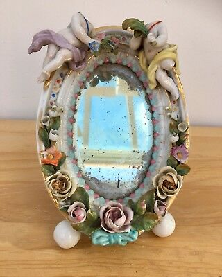 Antique Porcelain Johansen Roth Cherub Mirror