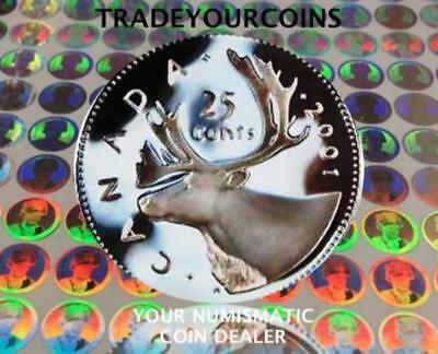 2001 Canada Sterling Silver Quarter Proof Caribou - 25 Cents