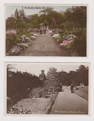 Vintage Rouken Glen Glasgow postcards - The Gardens