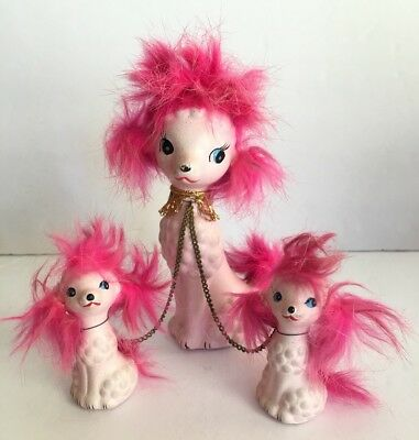 Vintage Mid-Century Pink Poodle Mom With Pups Pink Fur Napco?