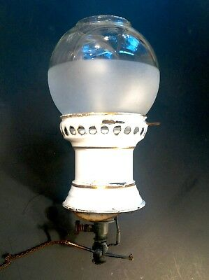 Vintage Antique 1800's Barber Shop Back Bar Porcelain Gas Light Pre Electricity