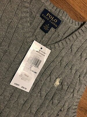 Boys Polo Ralph Lauren Cable Knit Sweater Vest Heather Gray Sz 6 New NWT