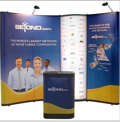 10 X 10 Popup Display Tradeshow Booth With Uplighting & 2 Tall Round Tables