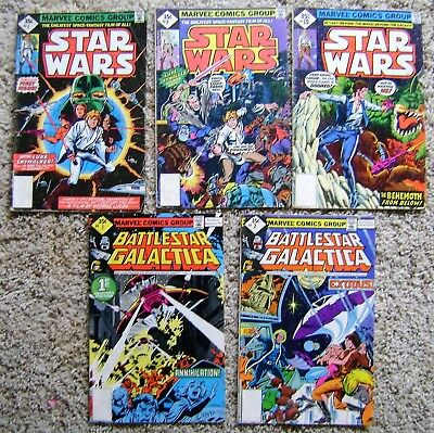 Star Wars - Battlestar Galactica Lot Of 5 Bronze Age Lower Grade Comics