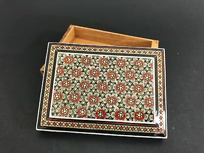 Persian Khatam Marquetry Inlaid Mosaic Hand Painted Wood Jewelery Box  1048