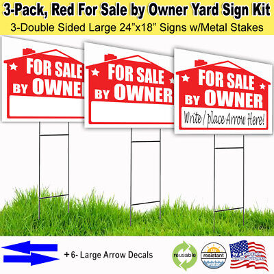 3 Pack For Sale By Owner Lawn Sign Kit