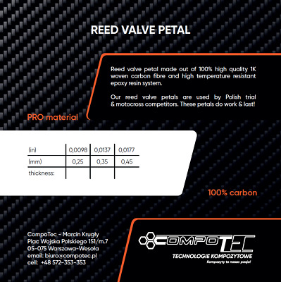 REED VALVE PETAL SELF-CUT PRO SHEET 100% CARBON - thickness 0.45mm/0.0177""