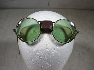 Vintage Antique Green Glass Safety Glasses Goggles Motorcycle Brass Round