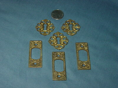 Lot Antique Brass Escutcheon Keyhole & Strike Plates