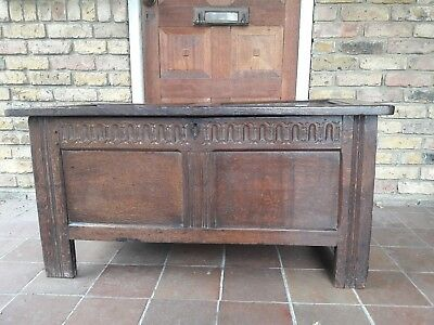 A 17th Century Carved Oak Coffer/Chest with carved frieze