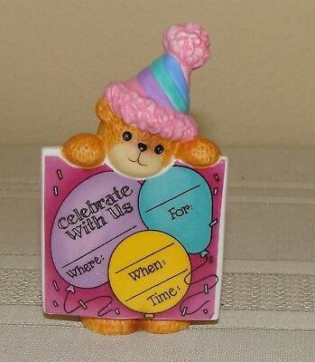 Lucy & Me Bear Holding Celebrate Invitation - New