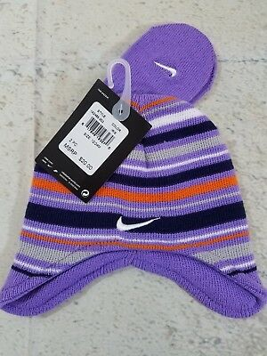 63aae8af457 NIKE INFANT GIRLS Purple Stripe Knit Beenie   Mittens Set Size 12-24 ...