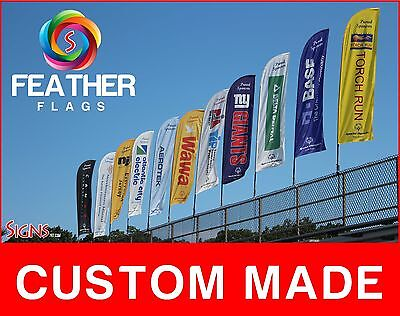 15'  One Side Full Color Custom  Swooper Flag Feather Banner + Pole & Spike