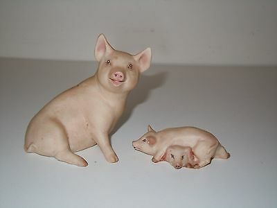 Vintage porcelain figurines by John Aynsley, Piglet  & Family(excell., c.1978)