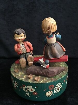 """Fun Vintage Anri Italy Hand Crafted Painted Music Box Plays """"School days"""""""