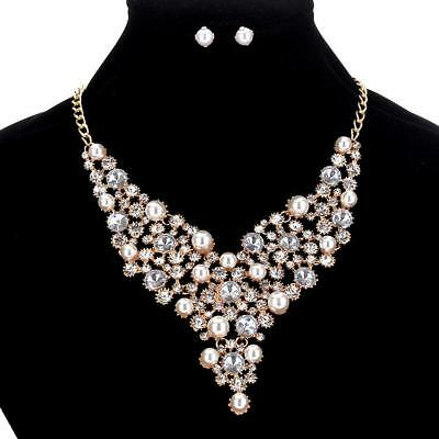 Gold Rhinestone Silver Crystal Formal Pageant Necklace Jewelry Set Earring