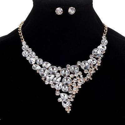 Silver Rhinestone Gold Tone Crystal Formal Pageant Necklace Jewelry Set Earring