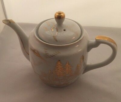 Kutani Japanese Tea Pot with Lid white Hand Painted gold guilded B13