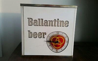 BALLENTINE Beer Lighted Advertising Clock NEON PRODUCTS Inc WORKS! Vintage 60's?