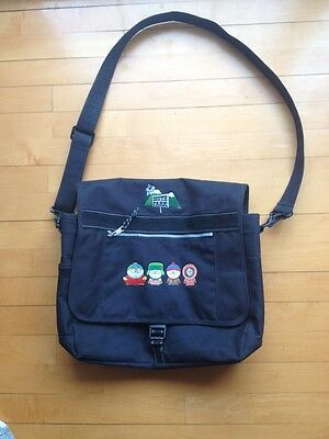 South Park Messenger Bag Black Polyester Comedy Central 1998 Vintage Broken Clip
