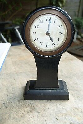 Mantel  Clock 30  Hour Time Piece  Wooden Ebony  Case