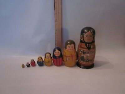 Russian nesting doll hand carved painted wood toy antique