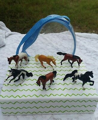 7 Piece Lot: Breyer® Mini Whinnies *MARES* w/ Zippered Case