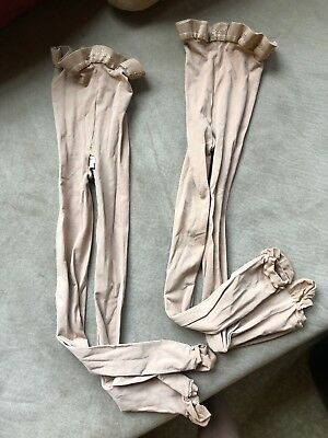 Lot of 2 pair body wrappers tights little girls size s/m 4-7 Jazzy Tan