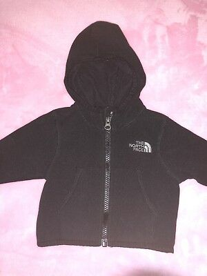 Infant Black North Face Zip Up Hoodie With Pockets 0-3 Months