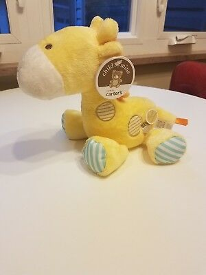 NWT Carters Child Of Mine Plush Wind Up Music Musical Giraffe Yellow Brown Blue