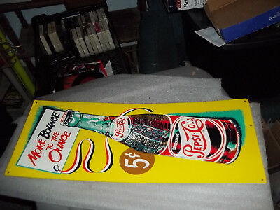 VINTAGE REPRODUCTION Pepsi Cola Bounce to the Ounce Metal Sign