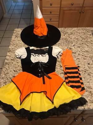 HALLOWEEN Costume Candy Corn Witch W/ HAT & LEGGINGS  Child Small Age 7-9 years