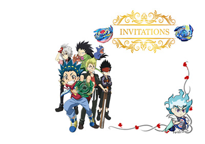 5 enveloppes pour cartes invitation anniversaire  BAYBLADE  BUST   n°17
