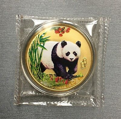 Unique Rare Chinese Enamel Panda 100 Mills .999 Fine Silver One 1 Oz Coin!