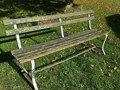 Vtg Rustic Park Bench Antique Architectural Salvage Wood Iron Garden Seat Green